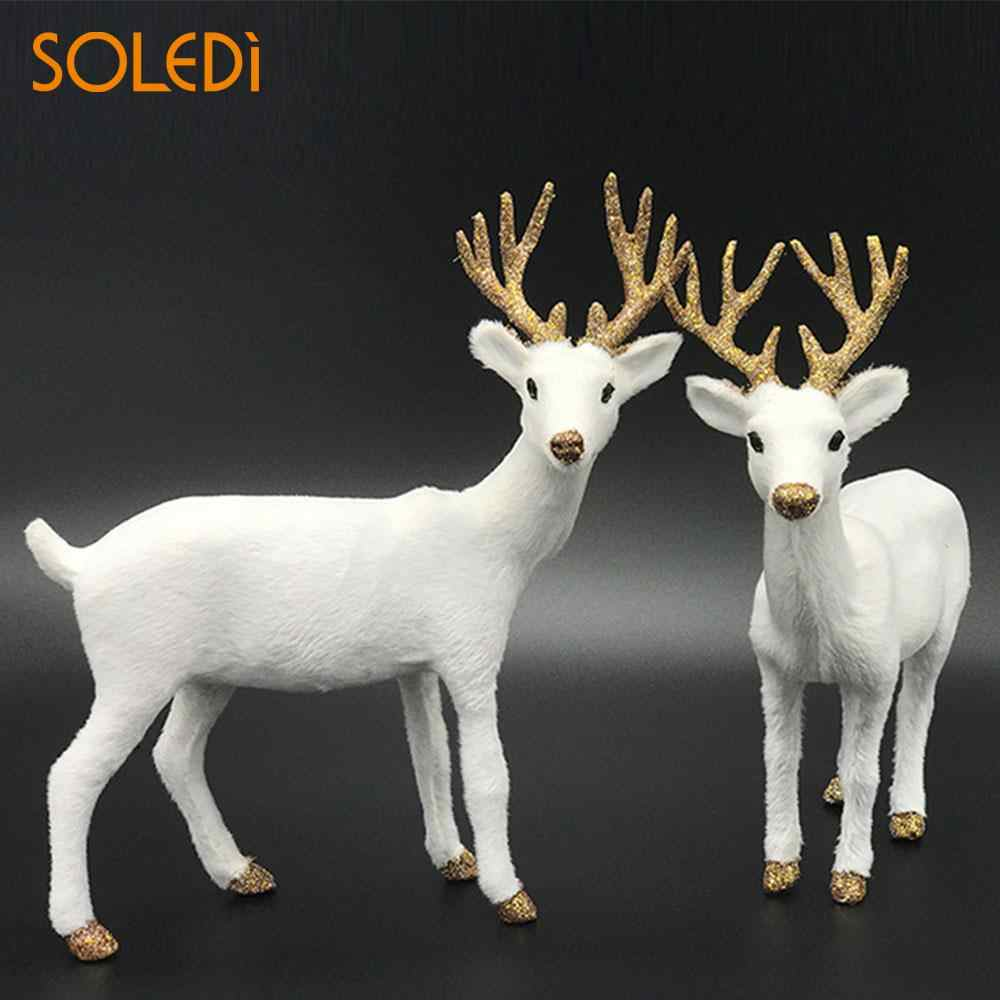 Christmas Dolls White Reindeer Xmas White Deer Elk Plush New Year Christmas Decorations Ornaments Home Gift Drop Shipping