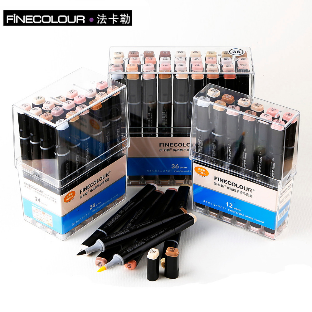 FINECOLOUR Sketch Skin Tones 12 24 36 Colors Artist Dual Head Markers Set for Brush Pen Painting Marker School Student Supplies sketch marker pen 218 colors dual head sketch markers set for school student drawing posters design art supplies
