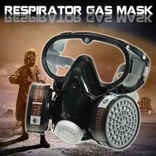 1PCS Respirator Gas Mask Safety Chemical Anti Dust Filter Military Eye Goggle Set Workplace Safety Prote