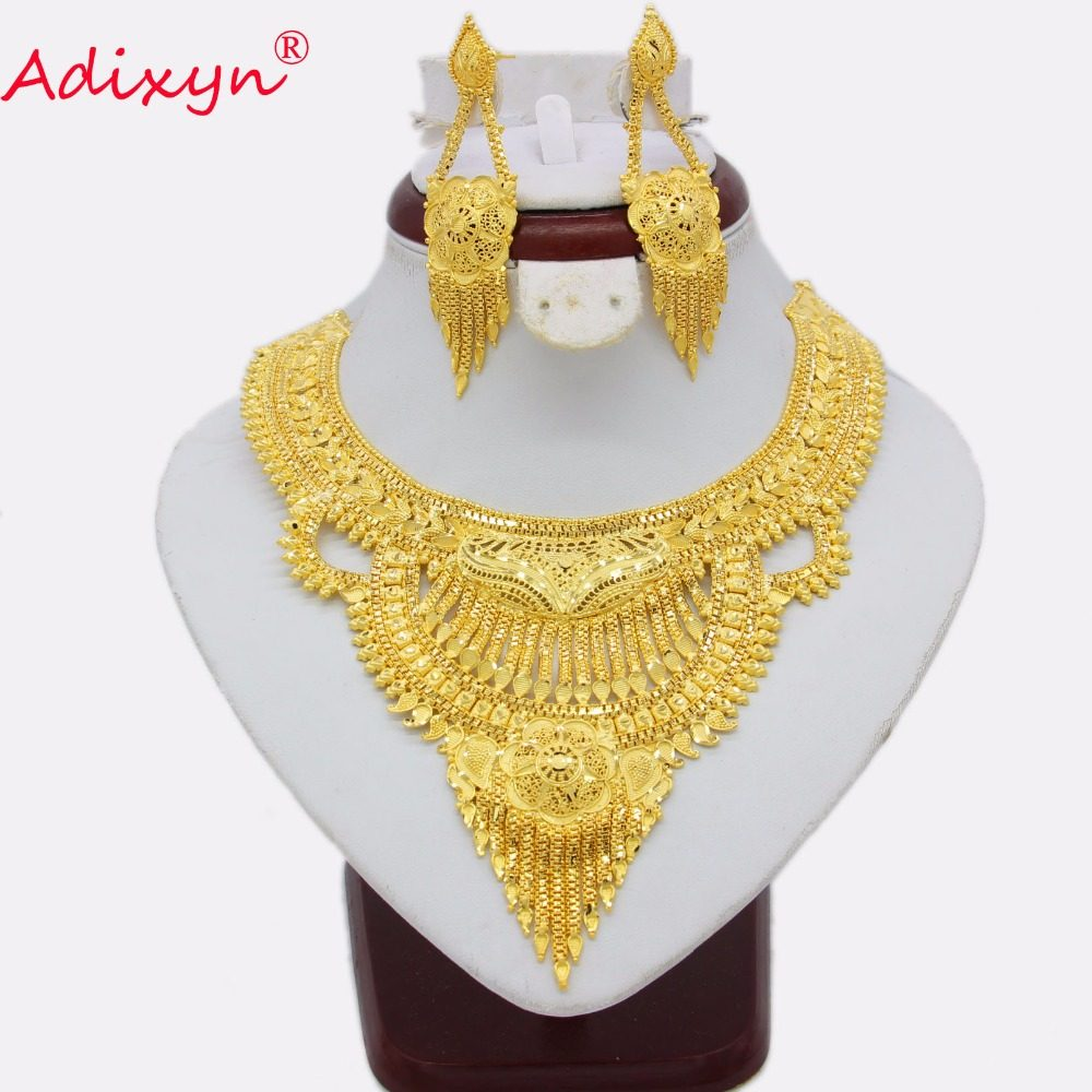 Adixyn Fashion African India Necklace Earrings Jewelry Set For Women Gold  Color Arab Wedding Party 90dcba99fc88