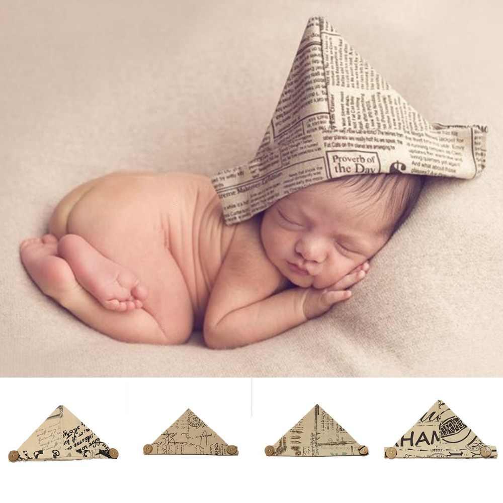 Puseky hecho a mano lindo periódico de fotografía apoyos de fotografía de bebé niño infantil niños niñas suave de papel plegable sombreros Beanie Cap