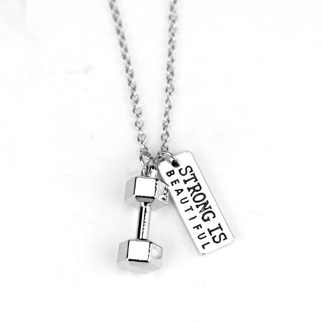 jewellery and item necklace weightlifting for men dumbbell fitness inspirational is beautiful gym quote pendant strong
