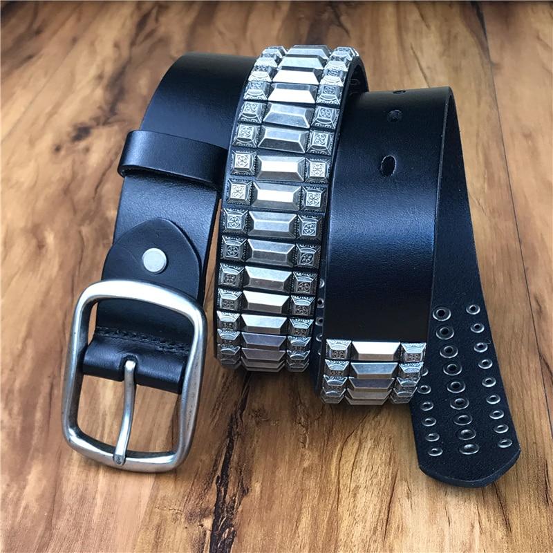 Heavy Metal Rivet Men Genuine Leather Belt Men Metal Stud Punk Jeans Belts For Men Strap Cinturon Hombre Ceinture Black MBT0572