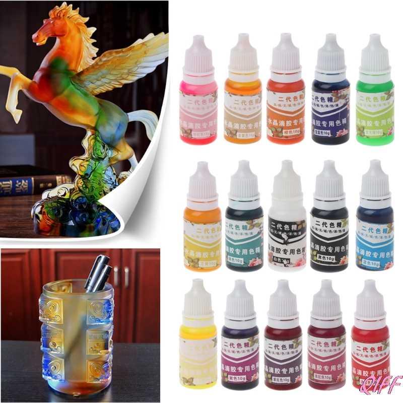Drop&Wholesale UV Resin Ultraviolet Curing Resin Liquid Pigment Dye Handmade Art Craft 15 Color APR28