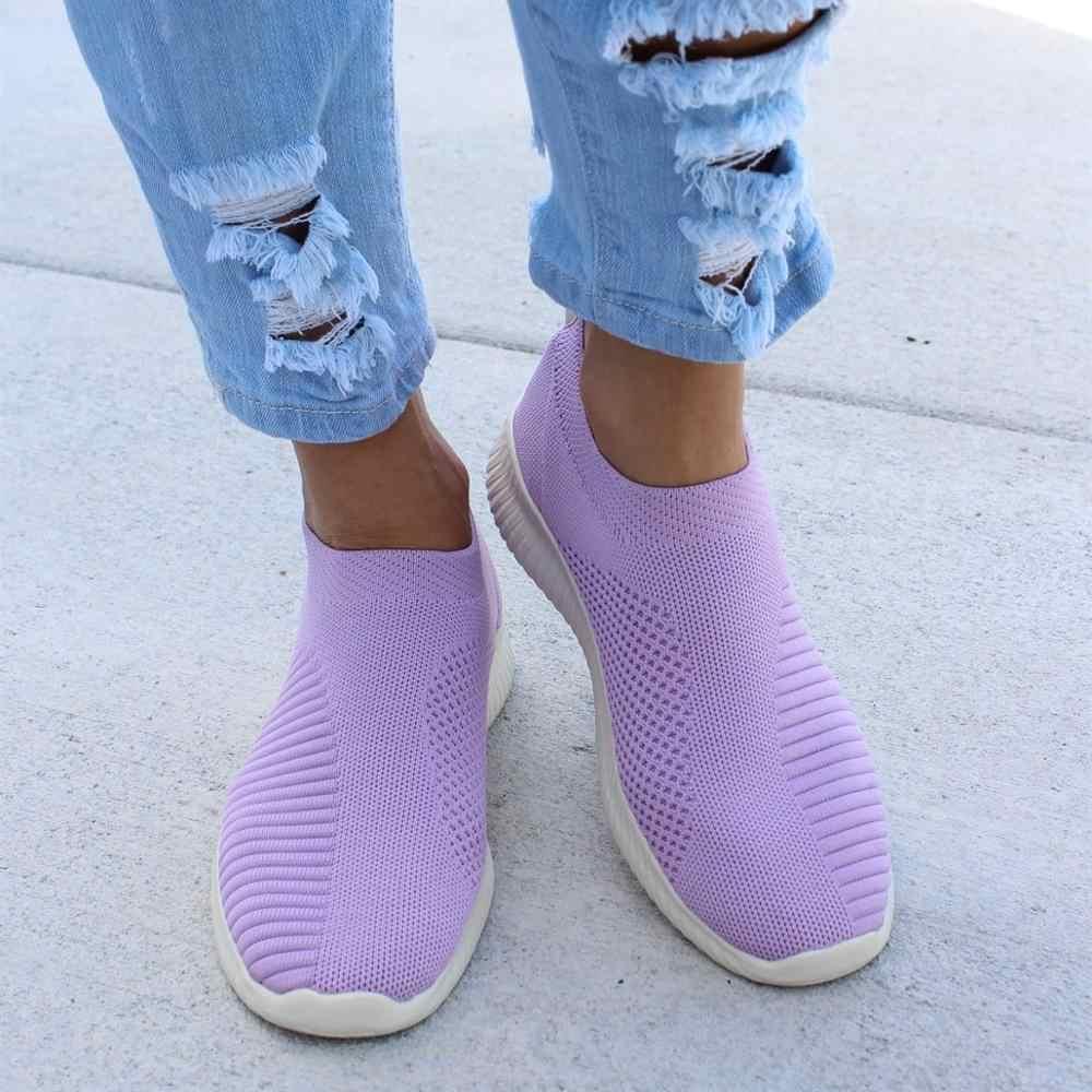 Женские кроссовки; женская трикотажная обувь из вулканизированной кожи; повседневная женская обувь без застежки; сетчатые кроссовки; мягкая прогулочная обувь; zapatos mujer