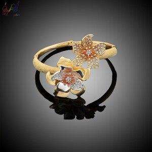Image 3 - Yulaili fiori di lusso Boom donne fidanzamento zirconi cubici collana girocollo orecchini Dubai set di gioielli in oro dipendenza da gioielli