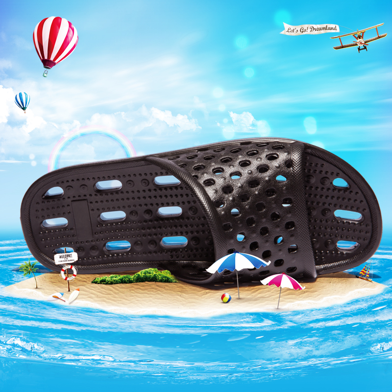 Bathroom Men Slippers Top Quality EVA Footwear Man Hole Leaking Water Men Shoes Super Light Soft Non-slip Breathable Slippers