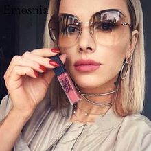 2019 Pink Gradient Rimless Sunglasses For Women Oversized Ey