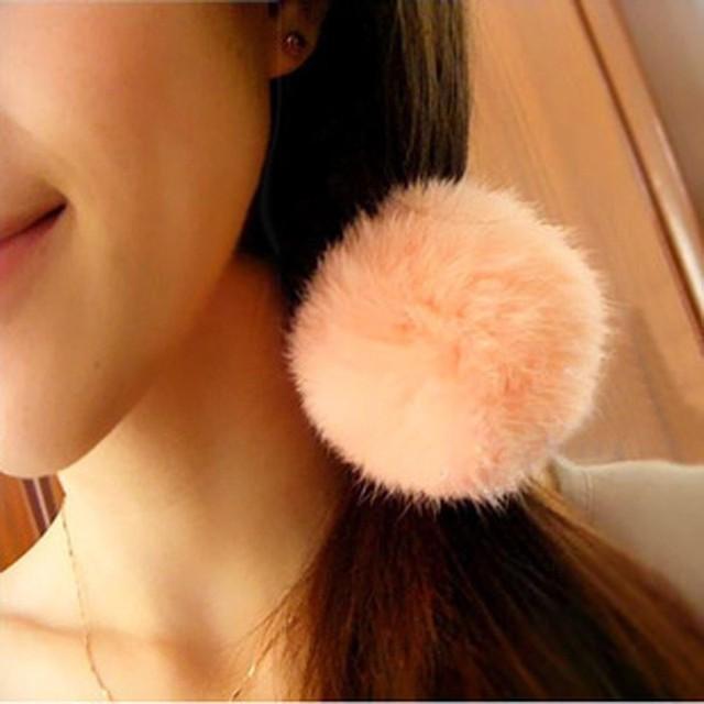 2017 New Artificial Rabbit Fur Ball Elastic Hair Rope Rings Ties Bands Ponytail Holders Girls Hairband Headband Hair Accessories