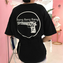 Women T-shirt Letter Bang Guns Printed Crew Neck Loose Baggy Casual Boyfriend Style Harajuku Punk Cotton Blend Summer 2017