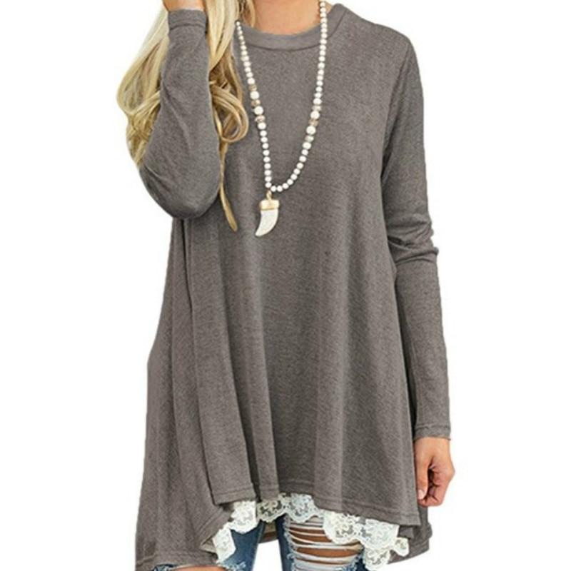 Otoño blusa de mujer las mujeres ocasionales Blusas Tops camisas Spirng de la camisa de encaje de pista Jersey túnica larga Blusas Plus tamaño GV184