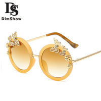 Europe Hipster Brand Designer Womens Sunglasses Butterfly Flower Decoration Round Glasses Retro Oversized Sunglasses Gafas Mujer