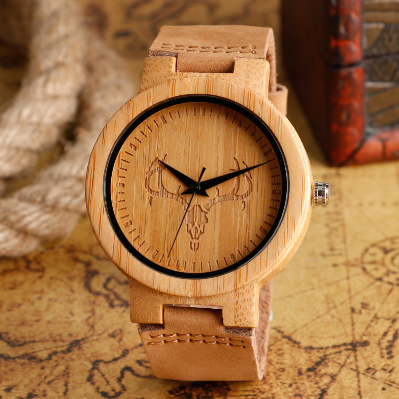 Handmade Wooden Watches Men Creative Nature Wood Bamboo Cattle Deer Skull Robot Wristwatch Genuine Leather Relogio
