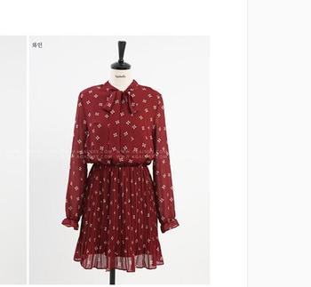 Winter Vintage dress new arrival womens floral print chiffon one-piece dress long-sleeve flower lacing bow neck pleated dress floral chiffon dress long sleeve