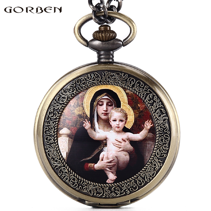 Virgin Mary Holding A Baby Quartz Pocket Watch Roman Numerals Dial Christian God's Son Jesus Pocket Watch Fob Chain Necklace