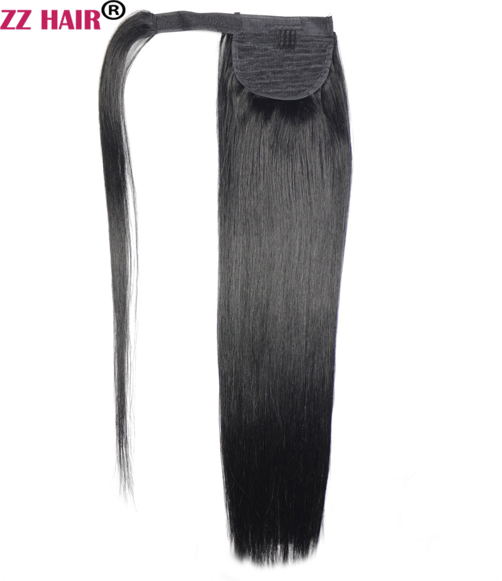 ZZHAIR 120g 16-26 Machine Made Remy Hair Magic Wrap Around Ponytail Clip In 100% Human Hair Extensions Horsetail Stragiht
