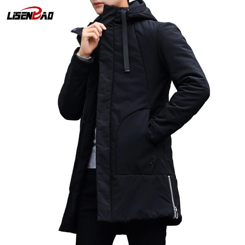 LiSENBAO 2018 Новое поступление зимняя длинная куртка хлопок толстый мужской высокое качество повседневное Модные мужские парки хлопковое пальт