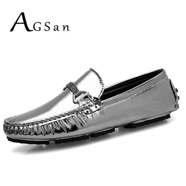 3e95aabe1de AGSan Men Loafers Moccasins Fashion Silver Loafers for Men PU Slip On  Driving Shoes Blue Black Mocassim Masculino Flats Male