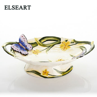Creative Fruit Pot Big Fruit Plate With Two Ears Tea Dessert Plate With Butterfly for home table decoration