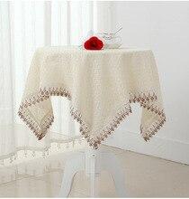 Alta calidad de algodón y lino cuadrada mesa redonda mesa colth cordón del ganchillo del mantel para decoración de la boda textiles para el hogar cubierta del gabinete