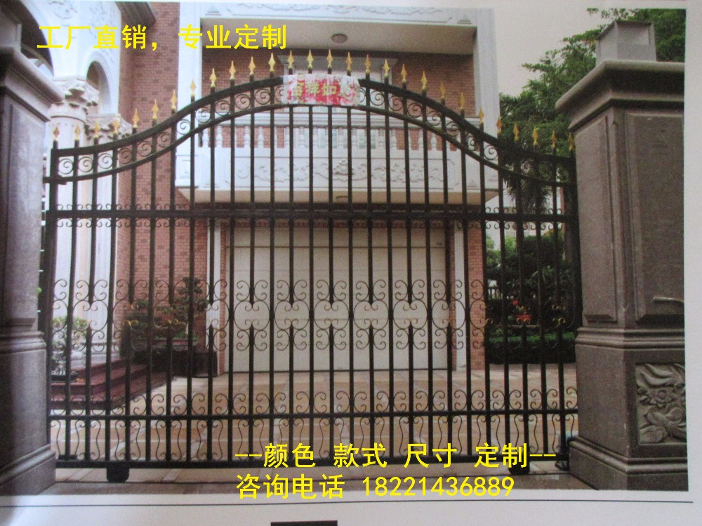 Custom Made Wrought Iron Gates Designs Whole Sale Wrought Iron Gates Metal Gates Steel Gates Hc-g80