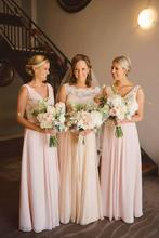 Pink Chiffon Long Bridesmaid Dresses 2016 A Line V Neck Floor Length Wedding Party Dresses Prom Gowns Vestido De Festa C44