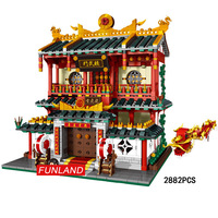 Hot city street view chinatown Chinese Kungfu Martial Arts Club moc building block figures stack brick toy collection nanoblock