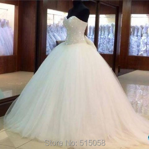 Bling Bling Sequins Beaded Bow Back White Organza Ball Gowns Wedding