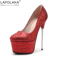LAPOLAKA Sexy Women's Shinning Synthetic Upper Party Wedding Shoes Woman Thin High Heels Platform Pumps Size 34-39