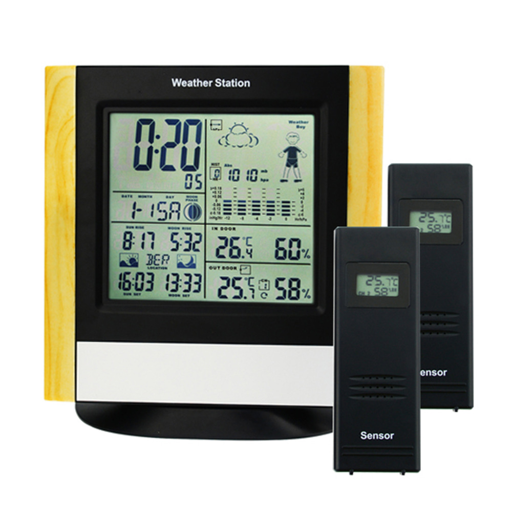 Indoor Outdoor Weather Station Home/Business/School/Office/Clubs and etc DST Alarm Function RCC DCF WWVB Receiver with 2 sensor