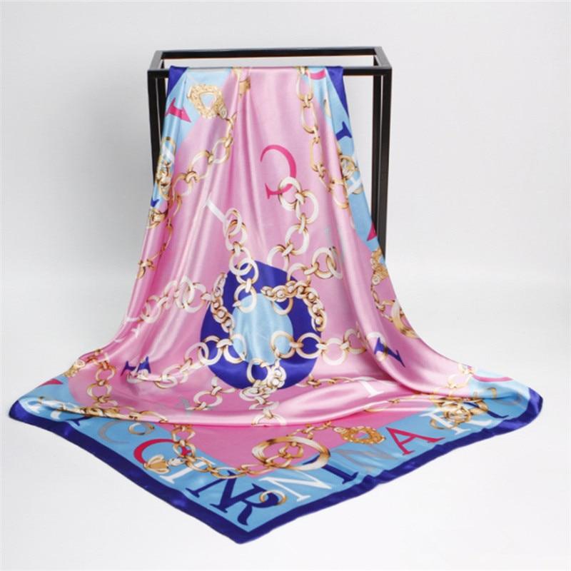 Bufanda de seda 90cmX90cm de las mujeres Marca de lujo Bufanda rosada - Accesorios para la ropa - foto 3
