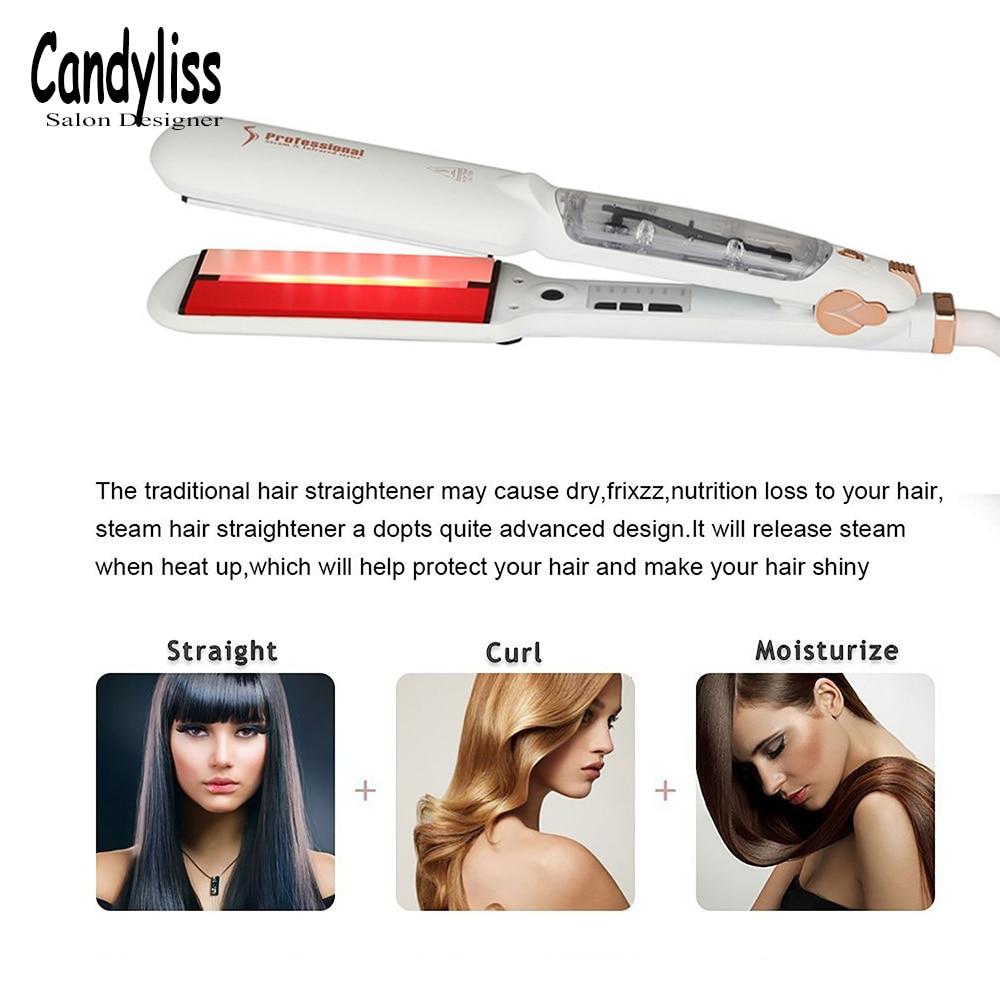Купить с кэшбэком Professional Steam Hair Straightener Ceramic Vapor Hair Flat Iron Seam Hair Straightening Iron Curler Steamer Hair Styling Tool