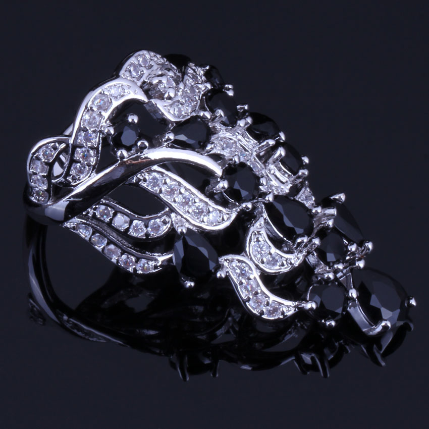 Jolly Huge Plant Black Cubic Zirconia White CZ 925 Sterling Silver Ring For Women V0528 in Rings from Jewelry Accessories