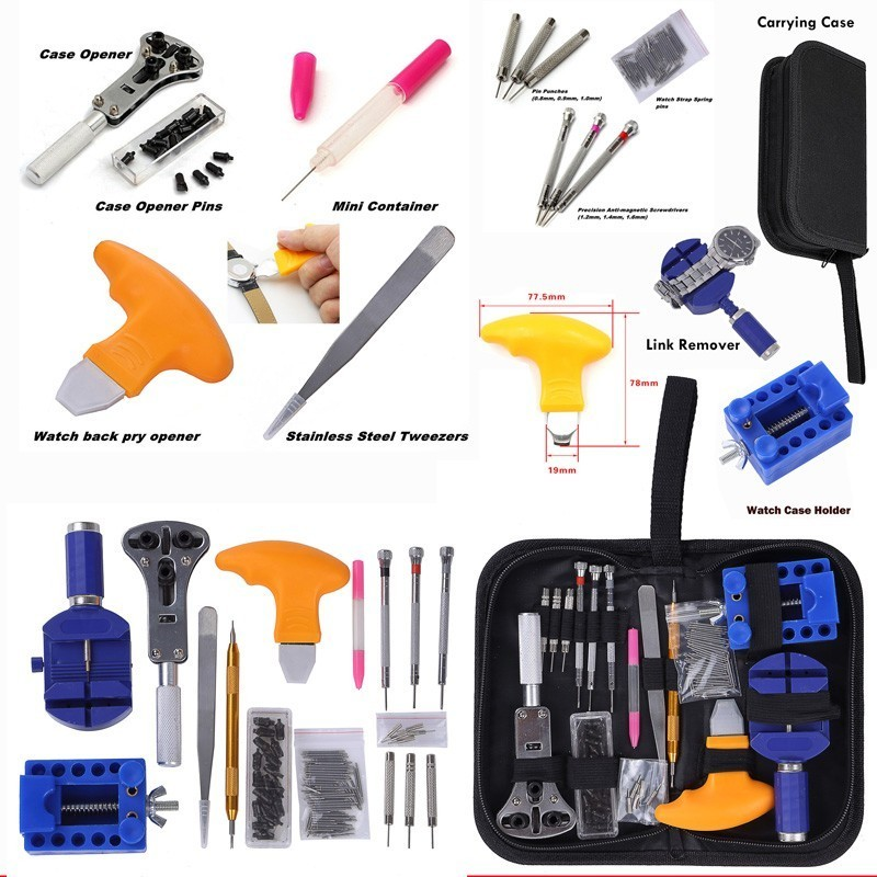 цена 144Pcs Watch Opener Repair Tool Kit Watch Tools Clock Repair Tool Kit Watch Pin Remover Set Spring Bar Case Opener Link BestSale онлайн в 2017 году