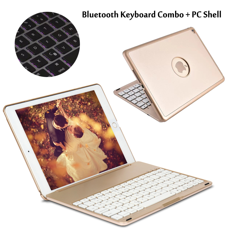 For iPad6 / For iPad 6 / Air2 A1566 A1567 7 Colors Backlit Wireless Bluetooth Keyboard Case Cover + Gift aluminum keyboard case with 7 colors backlight backlit wireless bluetooth keyboard