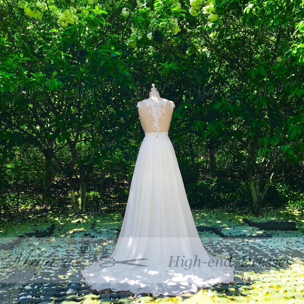 Mryarce Beach Wedding Dress 2018 Sheer Bodice Lace Appliqued  Flowing Chiffon Split Bridal Gowns With Cap Sleeves  (1)