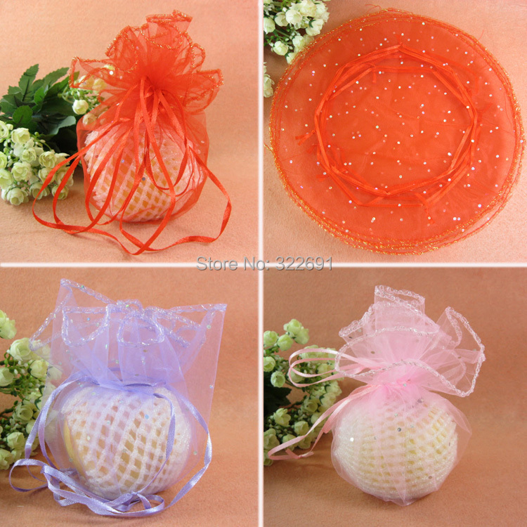 Free Shipping100pcslot 26cm Wedding Favor Candy Bags Round Organza