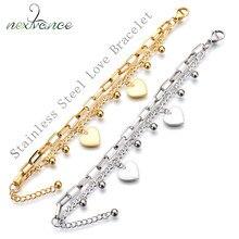 Nextvance – Bracelet à maillons en forme de cœur, en acier inoxydable, ajustable, multicouches, tendance, idéal comme cadeau de la saint-valentin
