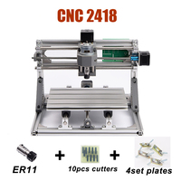 Laser Engraving Machine CNC 2418 Laser Router Machine With ER11 Collet 500MW/2500MW/5500MW Optional lasers