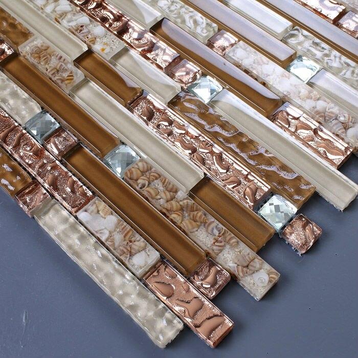 Interlocking Glass Mosaic tile brown rose gold 13 Beveled kitchen ...