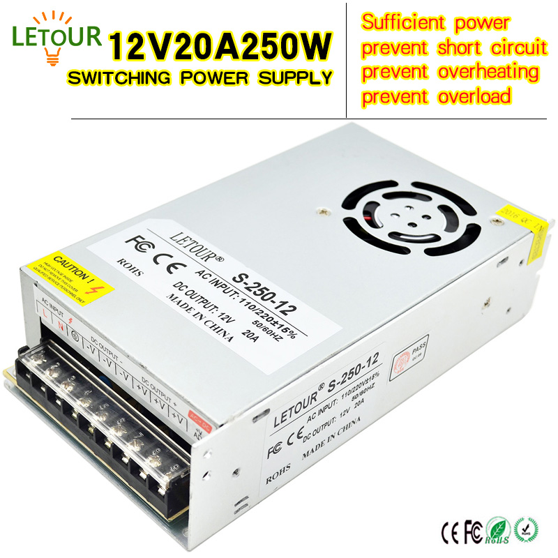 12V 20A 250W Switching Power Supply AC 96V-240V Converter Adapter DC12V Power Supply LED Driver for LED Strip CCTV CE FCC Cert 24v 20a power supply adapter ac 96v 240v transformer dc 24v 500w led driver ac dc switching power supply for led strip motor