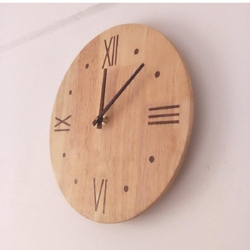 Nouvelle Horloge murale en bois massif Saat Relogio de parede Horloge ronde Reloj Horloge murale maison muet salon chambre horloges murales montre - 5