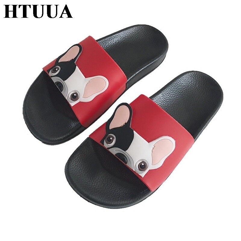 HTUUA Pvc Slippers Slides Bulldog Bathroom Flip-Flops Shoes Woman Open-Toe Summer Women