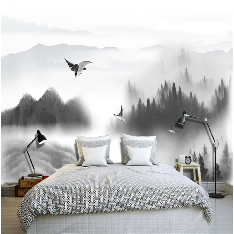 Custom Wall Papers Home Decor 3D Stereoscopic Mountain White and Black Minimalism Wall Paper Modern Bedroom Wall for Living Room stylish diy purple mangnolia and letters pattern wall stickers for home decor