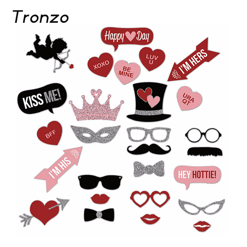 Tronzo Wedding Decoration Photo Booth 27Pcs Glasses Mustache Lips Party Decoration  Supplies Funny Valentineu0027s Day Mariage
