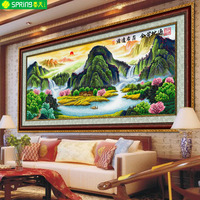 Living room printing new cross stitch landscape landscape painting gold bullion Chinese wind