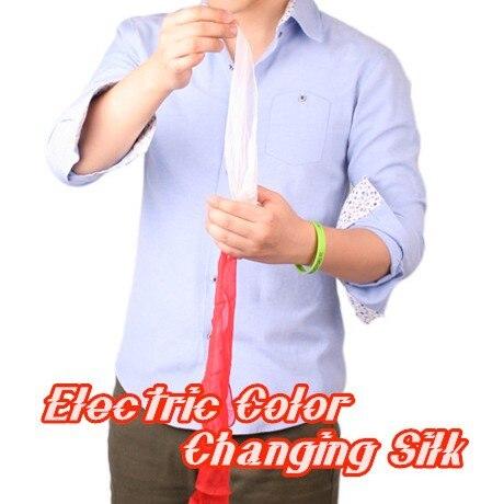 Couleur électrique changeant soie tours de Magie magicien écharpe apparaissant dispositif Magie scène Illusion Gimmick accessoires classique jouet comédie