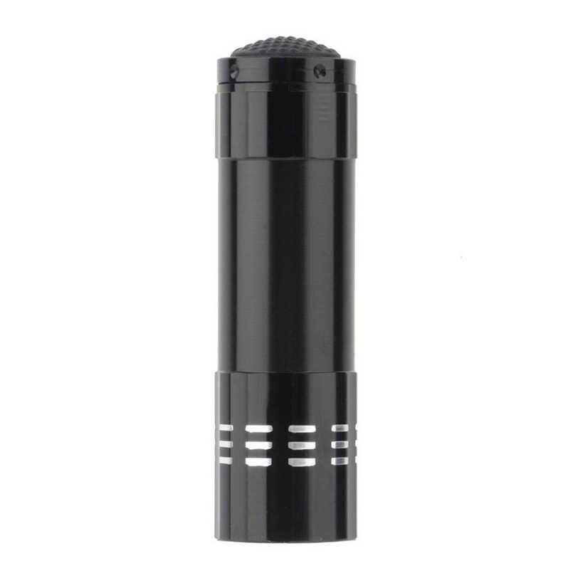 Mini aluminio UV Ultravioleta 9 LED linterna retroiluminación antorcha lámpara comprobación nota AAA envío gratis F #4O04