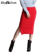 2017 Spring Women High Waist Open Slit Back Side Split Jersey Stretch Mid-Calf Long Pencil Skirt Bodycon Sexy Kintted Skirt