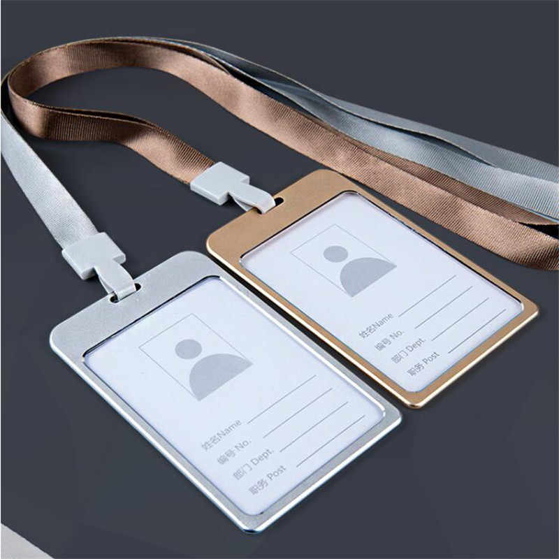 1PC praca etui na karty posiadacz karty ze stopu Aluminium nazwa pracownika etui na dowód tożsamości do obróbki metalu certyfikat pokrowiec na karty identyfikacyjne